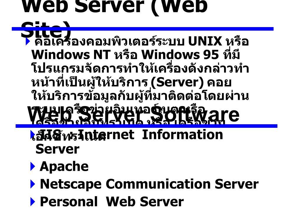 Web Server (Web Site)  คือเครื่องคอมพิวเตอร์ระบบ UNIX หรือ Windows NT หรือ Windows 95 ที่มี โปรแกรมจัดการทำให้เครื่องดังกล่าวทำ หน้าที่เป็นผู้ให้บริการ (Server) คอย ให้บริการข้อมูลกับผู้ที่มาติดต่อโดยผ่าน ระบบเครือข่ายอินเทอร์เนต หรือ เครือข่ายอินทราเนต หรือ เครือข่าย เอ็กซ์ทราเนต Web Server Software  IIS : Internet Information Server  Apache  Netscape Communication Server  Personal Web Server  Microsoft Fontpage Server