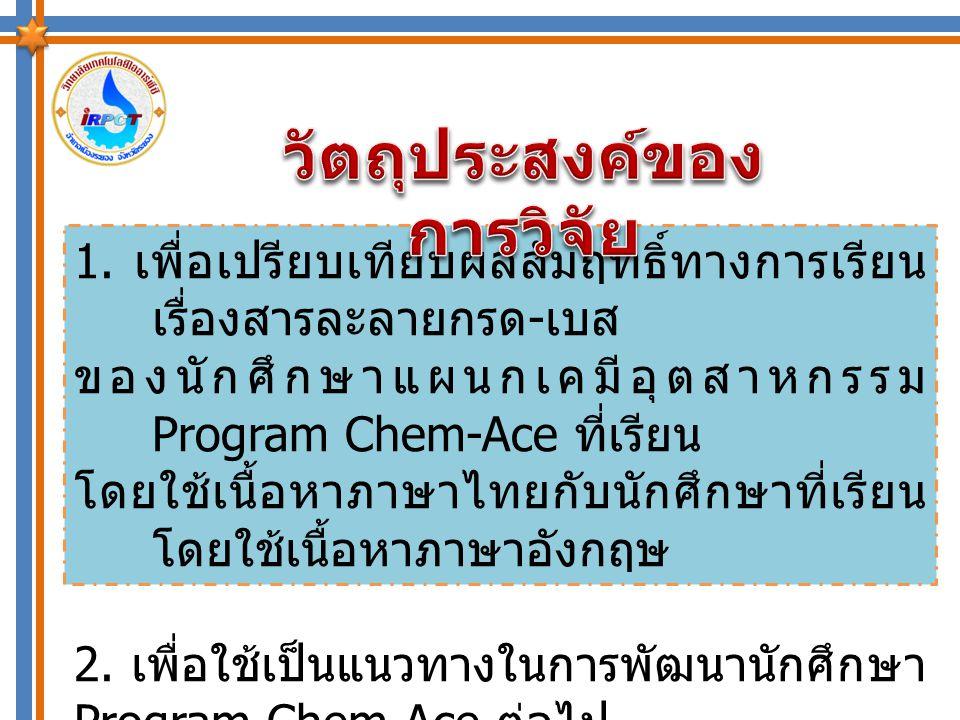 การเรียนโดยใช้เนื้อหา ภาษาไทย การเรียนโดยใช้เนื้อหา ภาษาอังกฤษ ผลสัมฤทธิ์ทางการ เรียนเรื่อง สารละลายกรด – เบส ตัวแปร ต้น ตัวแปร ตาม