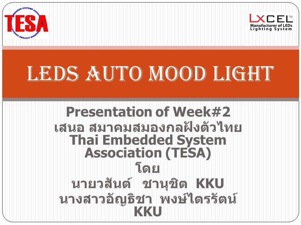 Presentation of Week#2 เสนอ สมาคมสมองกลฝังตัวไทย Thai Embedded System Association (TESA) โดย นายวสันต์ ชานุชิต KKU นางสาวอัญธิชา พงษ์ไตรรัตน์ KKU LEDs