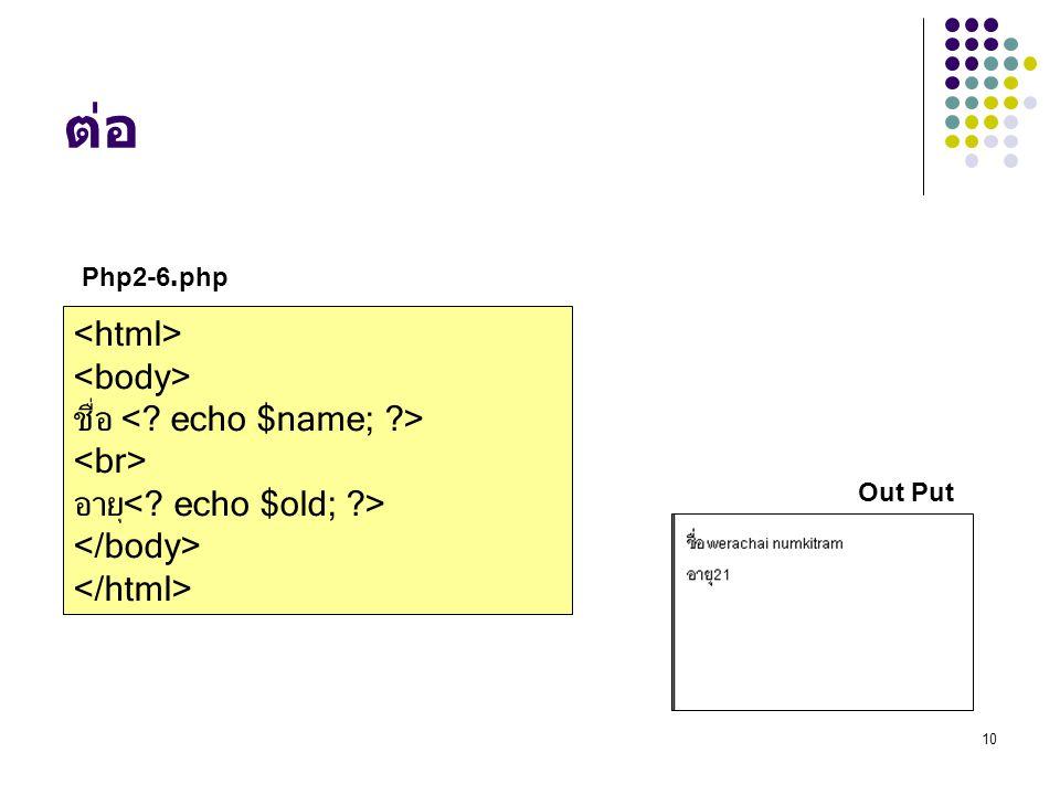 10 ต่อ ชื่อ อายุ Out Put Php2-6.php