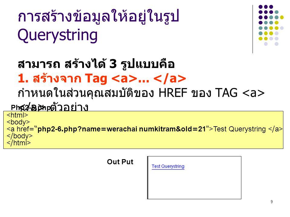 9 การสร้างข้อมูลให้อยู่ในรูป Querystring สามารถ สร้างได้ 3 รูปแบบคือ 1.