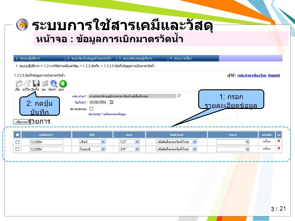 ระบบการใช้สารเคมีและวัสดุ หน้าจอ : ข้อมูลการเบิกมาตรวัดน้ำ 1: กรอก รายละเอียดข้อมูล 2: กดปุ่ม บันทึก รายการ 3 / 21