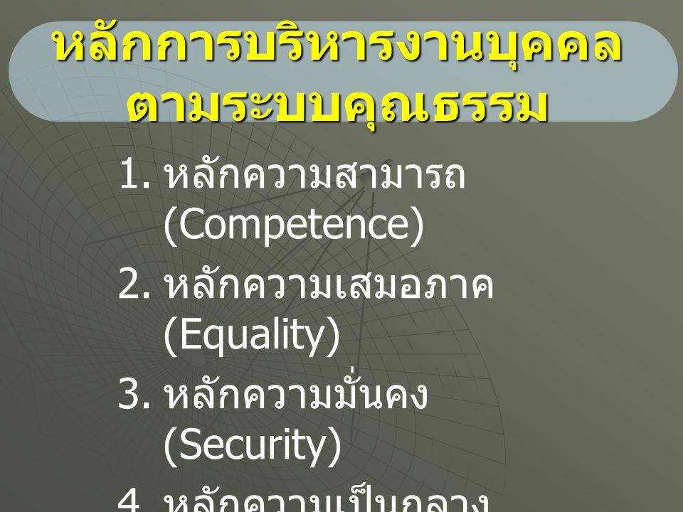หลักการบริหารงานบุคคล ตามระบบคุณธรรม 1. 1. หลักความสามารถ (Competence) 2. 2. หลักความเสมอภาค (Equality) 3. 3. หลักความมั่นคง (Security) 4. 4. หลักความ