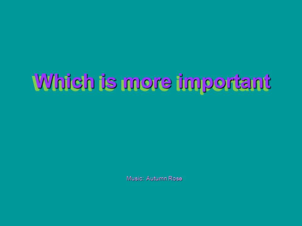Which is more important Which is more important Music: Autumn Rose
