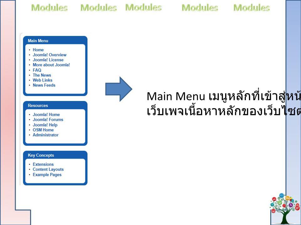 Main Menu เมนูหลักที่เข้าสู่หน้า เว็บเพจเนี้อหาหลักของเว็บไซต์