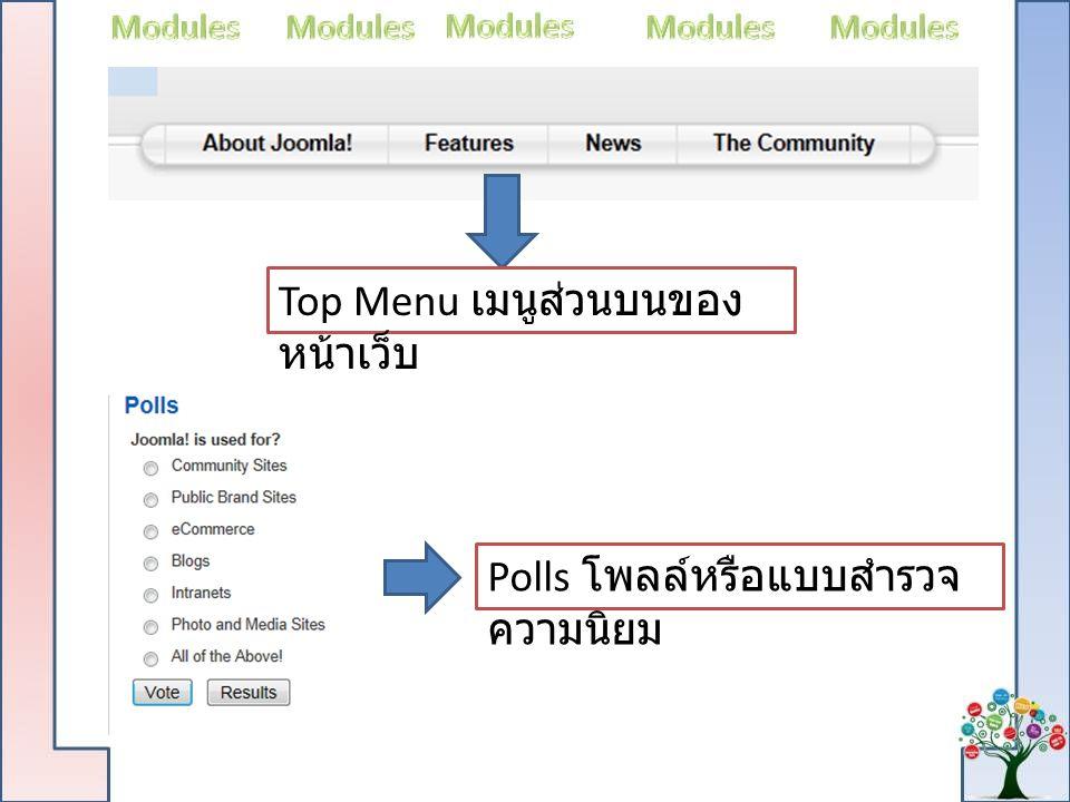 Top Menu เมนูส่วนบนของ หน้าเว็บ Polls โพลล์หรือแบบสำรวจ ความนิยม