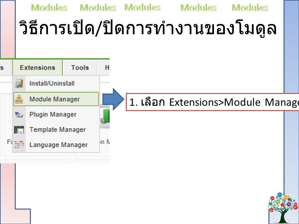 วิธีการเปิด / ปิดการทำงานของโมดูล 1. เลือก Extensions>Module Manager