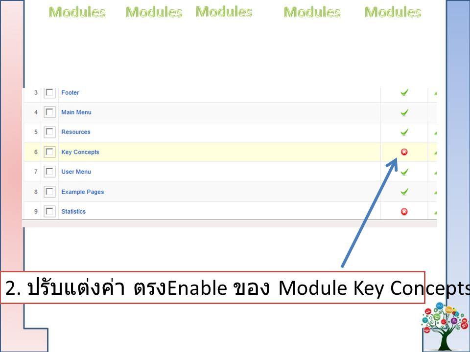 2. ปรับแต่งค่า ตรง Enable ของ Module Key Concepts