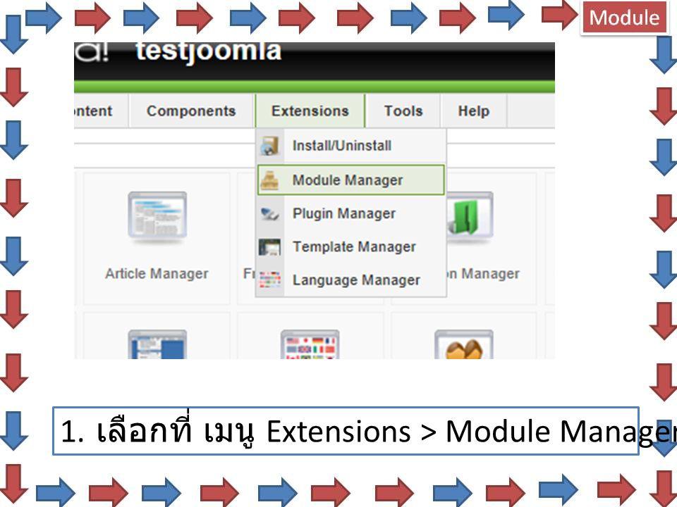 1. เลือกที่ เมนู Extensions > Module Manager