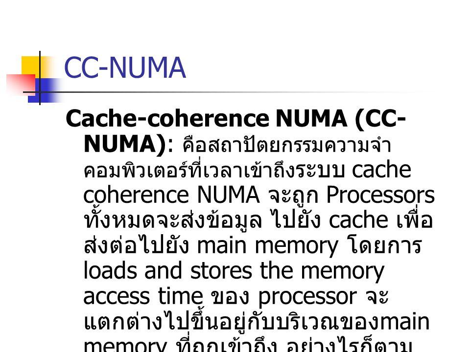 CC-NUMA Cache-coherence NUMA (CC- NUMA): คือสถาปัตยกรรมความจำ คอมพิวเตอร์ที่เวลาเข้าถึง ระบบ cache coherence NUMA จะถูก Processors ทั้งหมดจะส่งข้อมูล