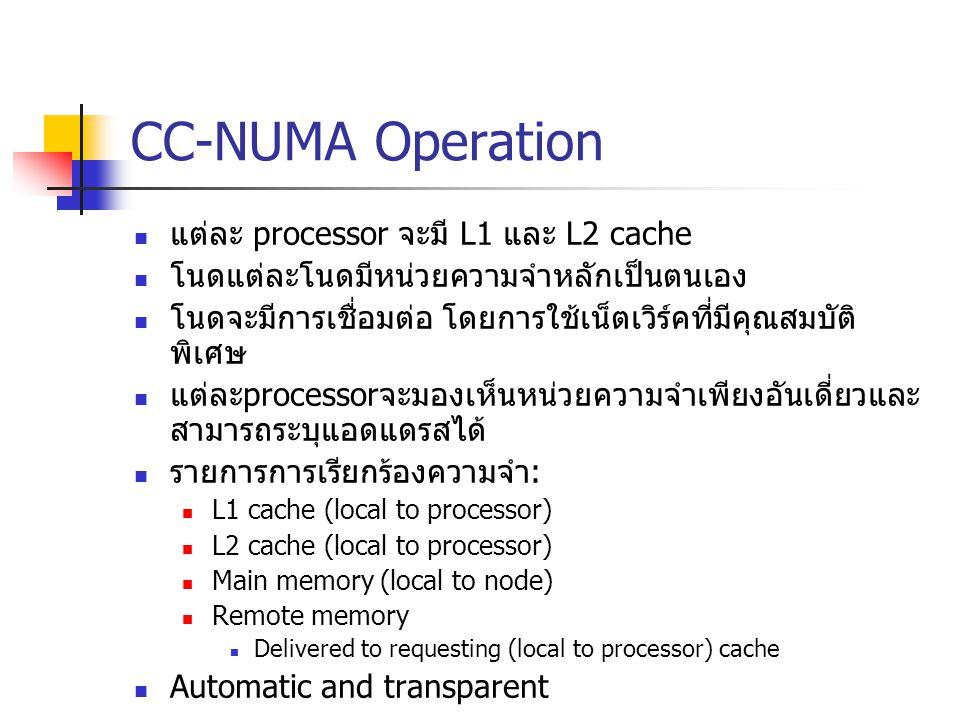 CC-NUMA Operation แต่ละ processor จะมี L1 และ L2 cache โนดแต่ละโนดมีหน่วยความจำหลักเป็นตนเอง โนดจะมีการเชื่อมต่อ โดยการใช้เน็ตเวิร์คที่มีคุณสมบัติ พิเ