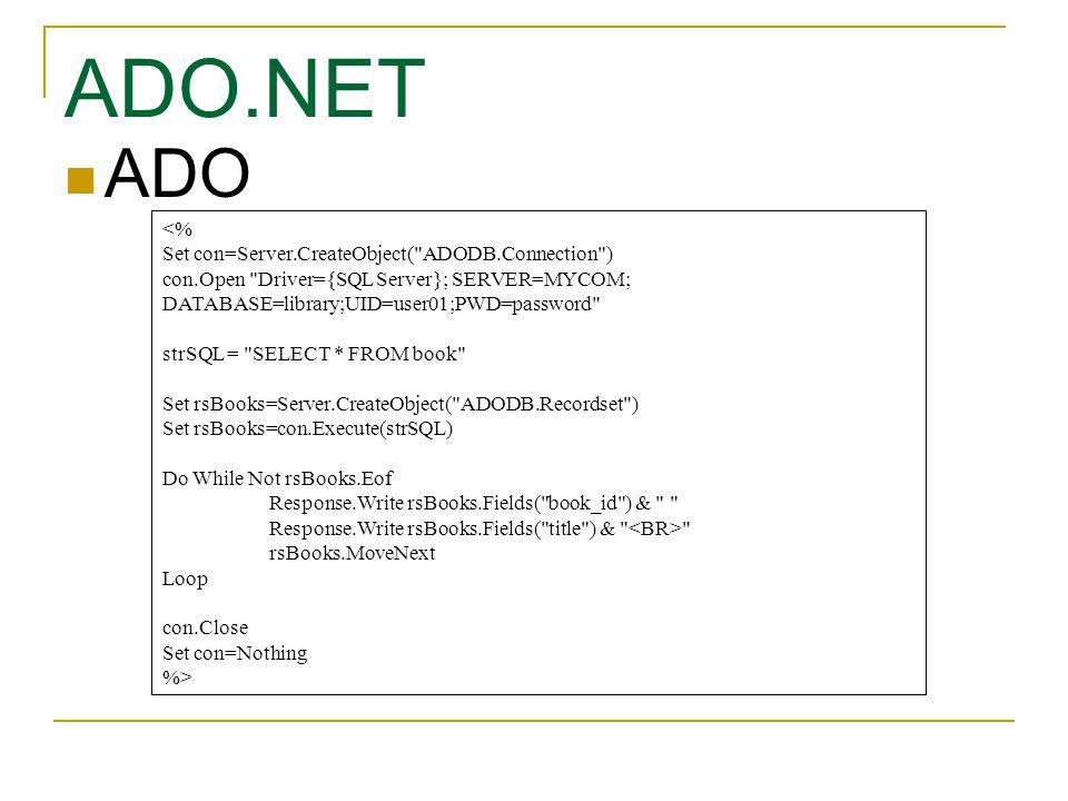 ADO ADO.NET