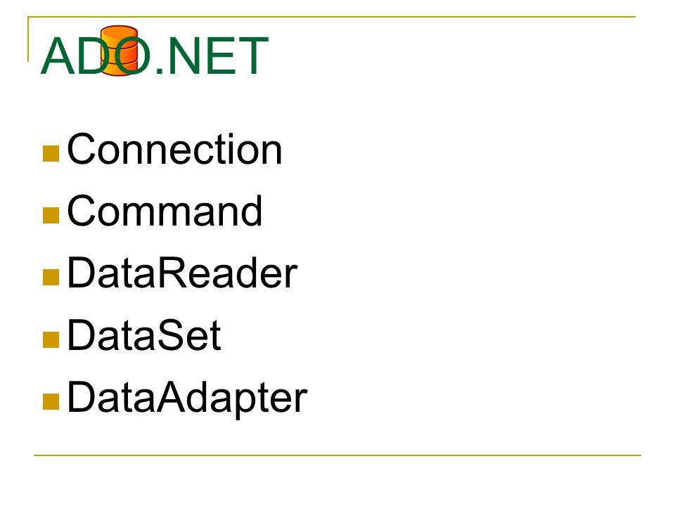 Connection Command DataReader DataSet DataAdapter