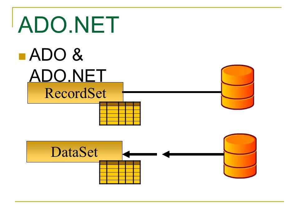 DataSet RecordSet ADO & ADO.NET ADO.NET