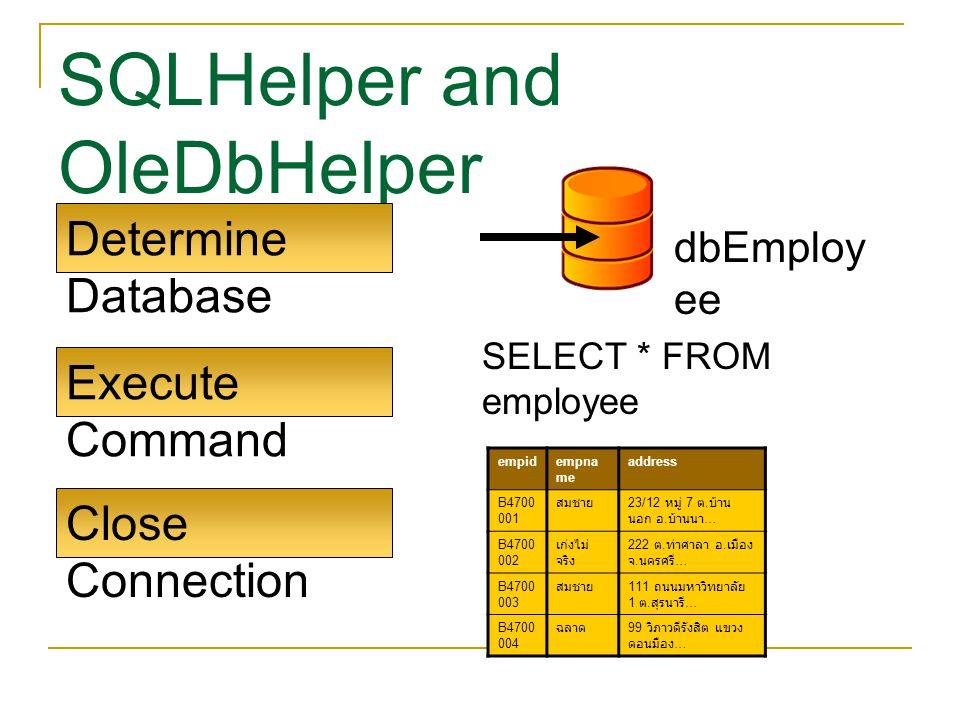 SQLHelper and OleDbHelper Determine Database Execute Command Close Connection SELECT * FROM employee dbEmploy ee empidempna me address B4700 001 สมชาย 23/12 หมู่ 7 ต.