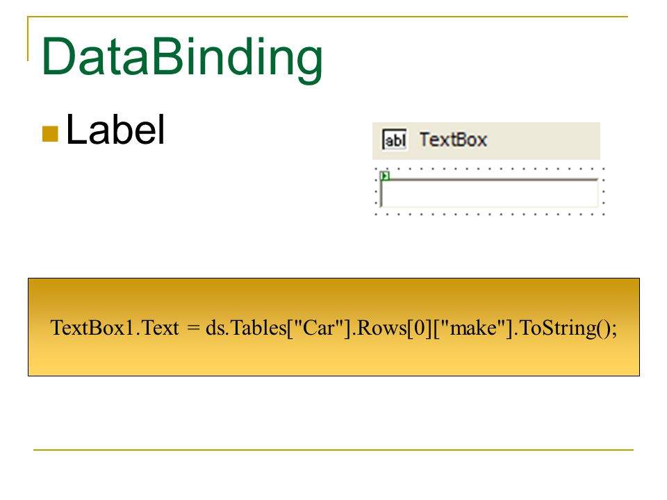 DataBinding Label Label1.Text = ds.Tables[ Car ].Rows[0][ make ].ToString();