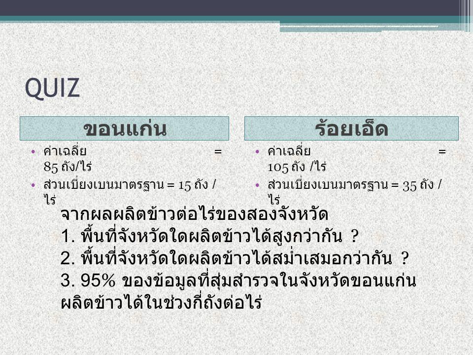 QUIZ ขอนแก่นร้อยเอ็ด ค่าเฉลี่ย = 85 ถัง / ไร่ ส่วนเบี่ยงเบนมาตรฐาน = 15 ถัง / ไร่ ค่าเฉลี่ย = 105 ถัง / ไร่ ส่วนเบี่ยงเบนมาตรฐาน = 35 ถัง / ไร่ จากผลผลิตข้าวต่อไร่ของสองจังหวัด 1.
