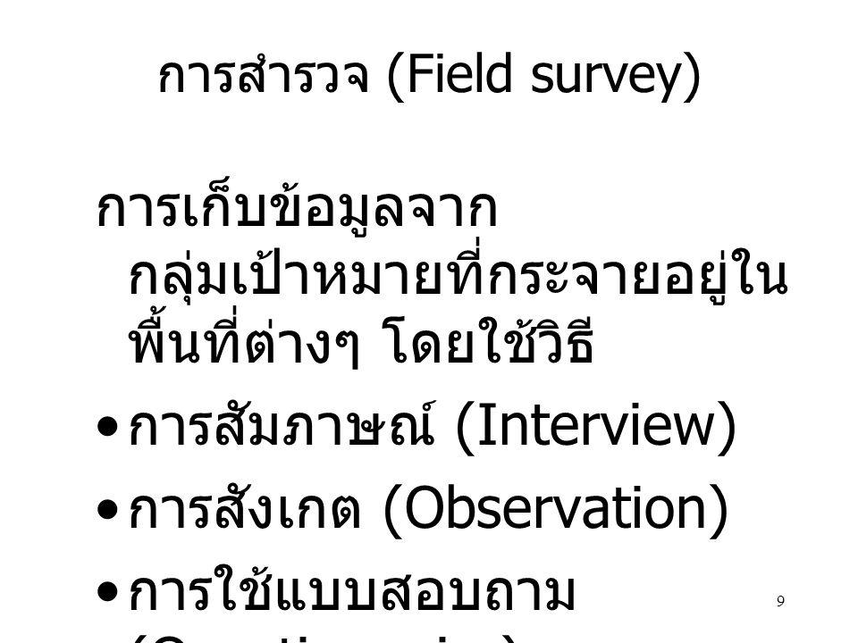 9 การสำรวจ (Field survey) การเก็บข้อมูลจาก กลุ่มเป้าหมายที่กระจายอยู่ใน พื้นที่ต่างๆ โดยใช้วิธี การสัมภาษณ์ (Interview) การสังเกต (Observation) การใช้