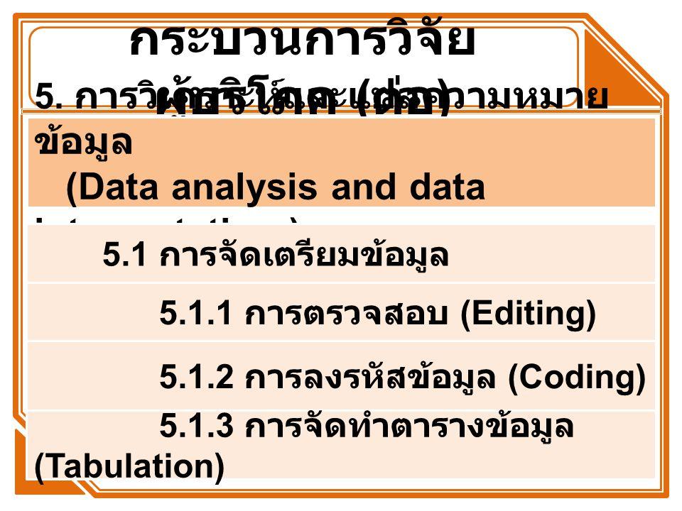 กระบวนการวิจัย ผู้บริโภค ( ต่อ ) 5. การวิเคราะห์และแปลความหมาย ข้อมูล (Data analysis and data interpretation ) 5.1 การจัดเตรียมข้อมูล 5.1.1 การตรวจสอบ
