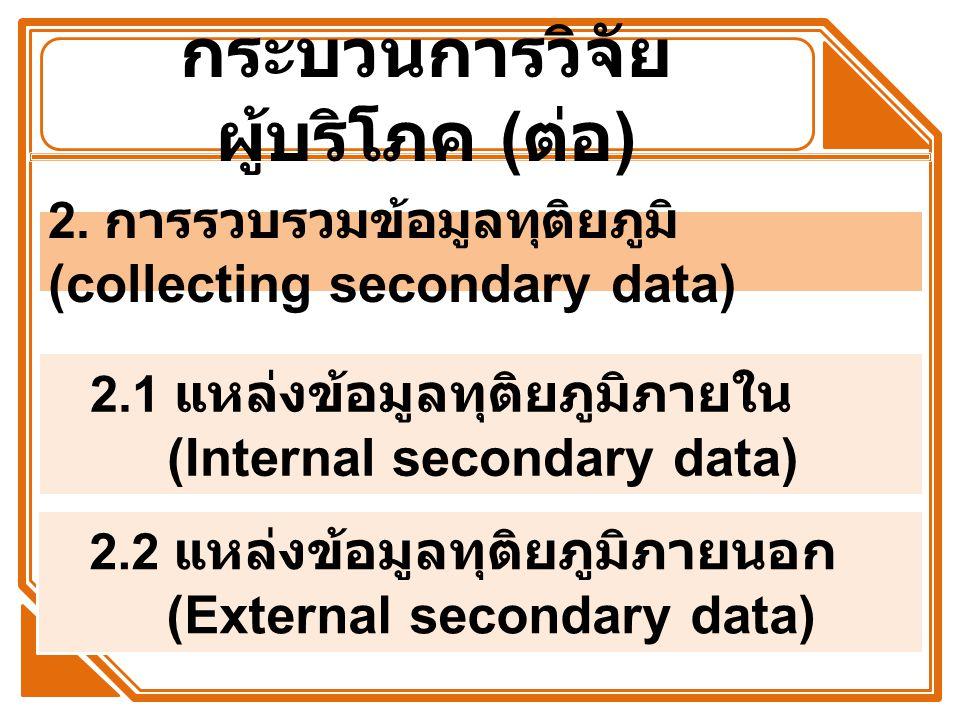 กระบวนการวิจัย ผู้บริโภค ( ต่อ ) 2.1 แหล่งข้อมูลทุติยภูมิภายใน (Internal secondary data) 2.2 แหล่งข้อมูลทุติยภูมิภายนอก (External secondary data) 2. ก