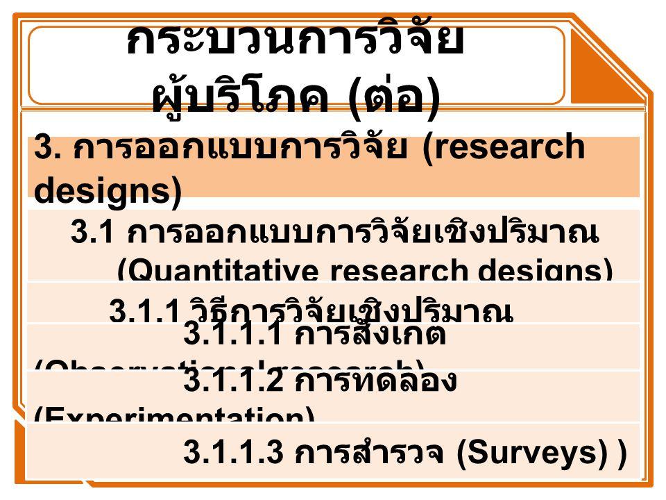 กระบวนการวิจัย ผู้บริโภค ( ต่อ ) 3.1 การออกแบบการวิจัยเชิงปริมาณ (Quantitative research designs) 3.1.1 วิธีการวิจัยเชิงปริมาณ 3. การ ออกแบบการวิจัย (r