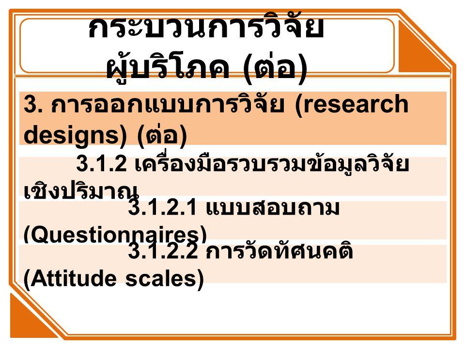 กระบวนการวิจัย ผู้บริโภค ( ต่อ ) 3.1.2 เครื่องมือรวบรวมข้อมูลวิจัย เชิงปริมาณ 3. การ ออกแบบการวิจัย (research designs) ( ต่อ ) 3.1.2.1 แบบสอบถาม (Ques