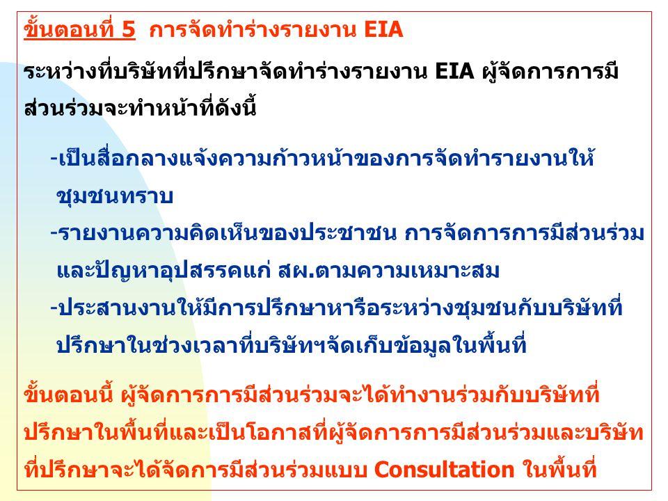 ขั้นตอนที่ 5 การจัดทำร่างรายงาน EIA ระหว่างที่บริษัทที่ปรึกษาจัดทำร่างรายงาน EIA ผู้จัดการการมี ส่วนร่วมจะทำหน้าที่ดังนี้ -เป็นสื่อกลางแจ้งความก้าวหน้