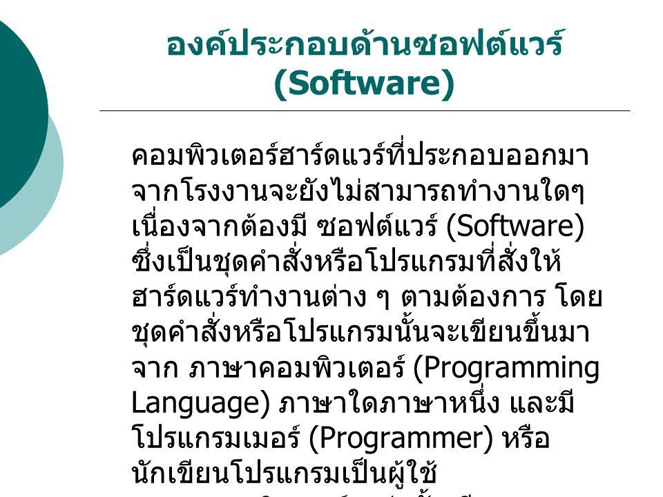 องค์ประกอบด้านซอฟต์แวร์ (Software) คอมพิวเตอร์ฮาร์ดแวร์ที่ประกอบออกมา จากโรงงานจะยังไม่สามารถทำงานใดๆ เนื่องจากต้องมี ซอฟต์แวร์ (Software) ซึ่งเป็นชุด