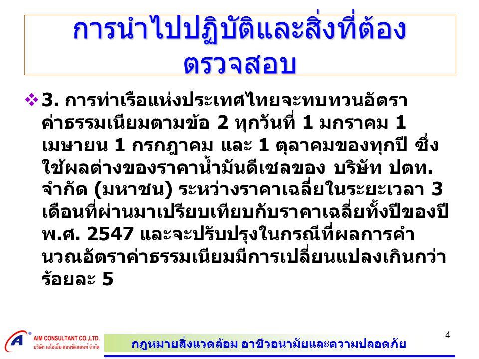 กฎหมายสิ่งแวดล้อม อาชีวอนามัยและความปลอดภัย 4 การนำไปปฏิบัติและสิ่งที่ต้อง ตรวจสอบ  3. การท่าเรือแห่งประเทศไทยจะทบทวนอัตรา ค่าธรรมเนียมตามข้อ 2 ทุกวั