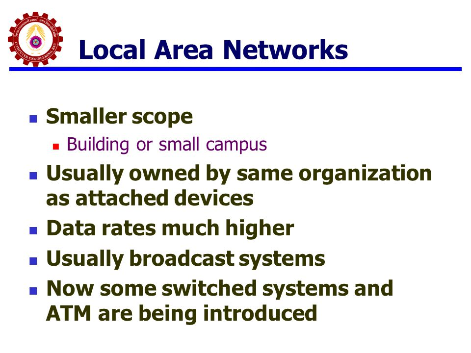 Local Area Networks Smaller scope Building or small campus Usually owned by same organization as attached devices Data rates much higher Usually broad