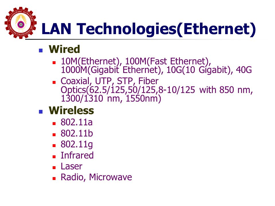 LAN Technologies(Ethernet) Wired 10M(Ethernet), 100M(Fast Ethernet), 1000M(Gigabit Ethernet), 10G(10 Gigabit), 40G Coaxial, UTP, STP, Fiber Optics(62.