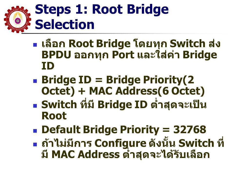 Steps 2: Minimum Cost Tree สร้าง Minimum Cost Tree โดยจาก Root ส่ง BPDU ที่มี Cost = 0 ออกทุกๆ Port ที่มันต่อ ซึ่งถูกจัดว่าเป็น Designated Port เมื่อ Switch ได้รับ BPDU มันจะบวกค่า Cost กับ Cost ของ Link ที่เข้ามา และส่งต่อ ถ้ามันได้รับมากกว่า 1 BPDU แสดงว่ามี มากกว่าหนึ่งเส้นทางไปยัง Root (Loop) เลือกเส้นทางที่ Cost ต่ำกว่า เป็น Root Port ถ้ามีมากกว่าหนึ่งเส้นทางและ Cost เท่ากัน เลือก Port ไปยัง Bridge ID ต่ำกว่า ถ้ายังเท่ากันเลือก Port Priority ต่ำกว่า
