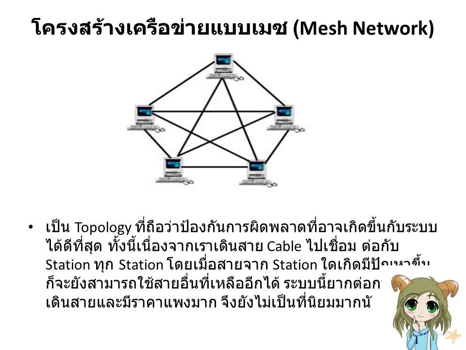 โครงสร้างเครือข่ายแบบเมซ (Mesh Network) เป็น Topology ที่ถือว่าป้องกันการผิดพลาดที่อาจเกิดขึ้นกับระบบ ได้ดีที่สุด ทั้งนี้เนื่องจากเราเดินสาย Cable ไปเชื่อม ต่อกับ Station ทุก Station โดยเมื่อสายจาก Station ใดเกิดมีปัญหาขึ้น ก็จะยังสามารถใช้สายอื่นที่เหลืออีกได้ ระบบนี้ยากต่อการ เดินสายและมีราคาแพงมาก จึงยังไม่เป็นที่นิยมมากนั เป็น Topology ที่ถือว่าป้องกันการผิดพลาดที่อาจเกิดขึ้นกับระบบได้ดีที่สุด ทั้งนี้เนื่องจากเราเดินสาย Cable ไปเชื่อม ต่อกับ Station ทุก Station โดยเมื่อสายจาก Station ใดเกิดมีปัญหาขึ้นก็จะยังสามารถใช้สายอื่นที่เหลืออีกได้ ระบบนี้ยากต่อการ เดินสายและมีราคาแพงมาก จึงยังไม่เป็นที่นิยมมากนัก โครงสร้างเครือข่ายแบบเมซ (Mesh Network)