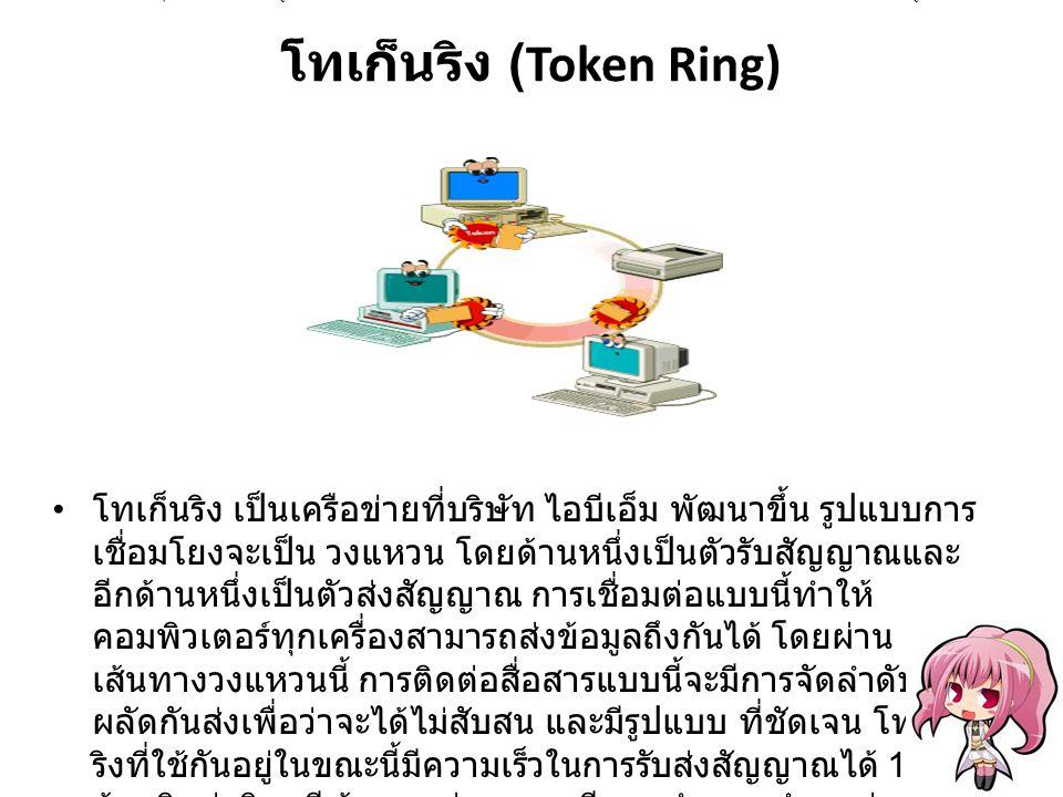 โทเก็นริง (Token Ring) โทเก็นริง เป็นเครือข่ายที่บริษัท ไอบีเอ็ม พัฒนาขึ้น รูปแบบการ เชื่อมโยงจะเป็น วงแหวน โดยด้านหนึ่งเป็นตัวรับสัญญาณและ อีกด้านหนึ