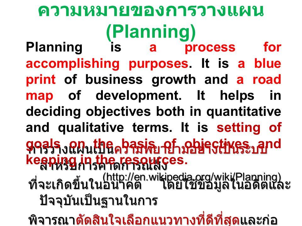 ความหมายของการวางแผน (Planning) การวางแผนเป็นความพยายามอย่างเป็นระบบ สำหรับการคาดการณ์สิ่ง ที่จะเกิดขึ้นในอนาคต โดยใช้ข้อมูลในอดีตและ ปัจจุบันเป็นฐานใ
