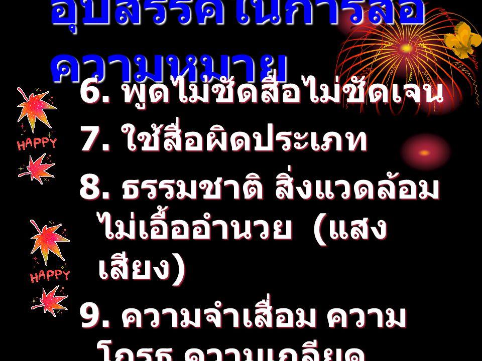 อุปสรรคในการสื่อ ความหมาย 6. พูดไม่ชัดสื่อไม่ชัดเจน 7. ใช้สื่อผิดประเภท 8. ธรรมชาติ สิ่งแวดล้อม ไม่เอื้ออำนวย ( แสง เสียง ) 9. ความจำเสื่อม ความ โกรธ