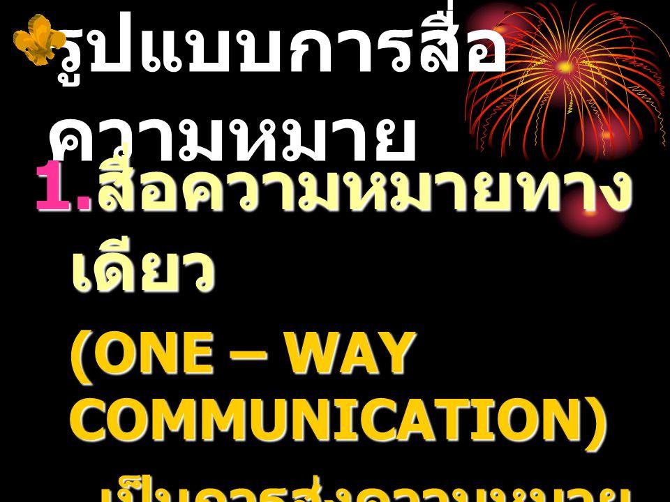 รูปแบบการสื่อ ความหมาย 1. สื่อความหมายทาง เดียว (ONE – WAY COMMUNICATION) เป็นการส่งความหมาย ด้านเดียว ไม่ทบทวน โต้แย้ง ซักถาม
