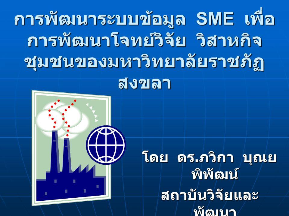 การพัฒนาระบบข้อมูล SME เพื่อ การพัฒนาโจทย์วิจัย วิสาหกิจ ชุมชนของมหาวิทยาลัยราชภัฏ สงขลา โดย ดร.