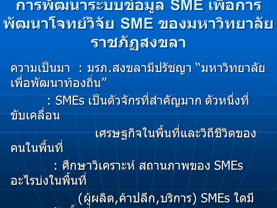 วัตถุประสงค์เรื่อง 1.จัดหาข้อมูล SMEs ของจังหวัด สงขลา 2.