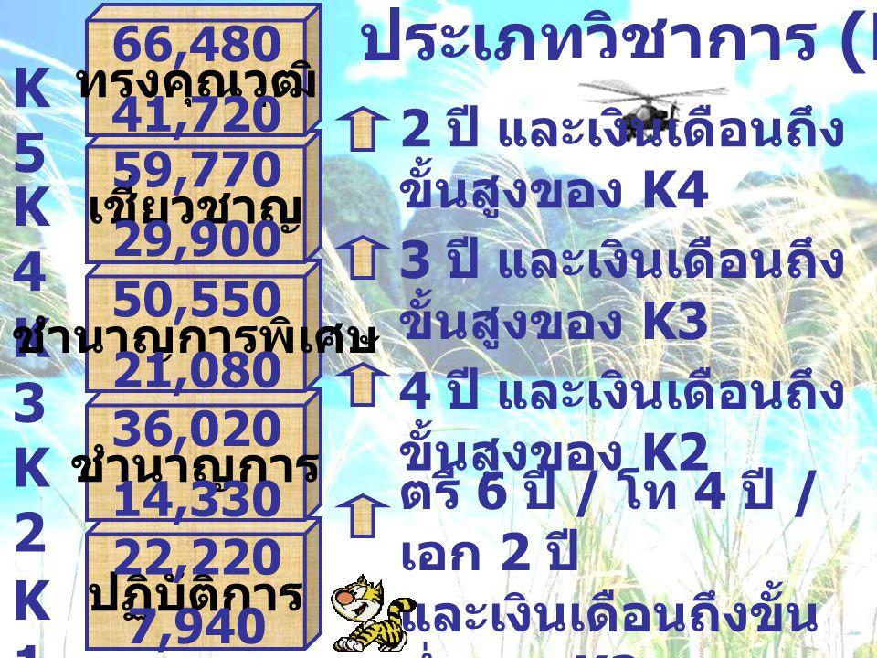 ประเภทวิชาการ (K) ตรี 6 ปี / โท 4 ปี / เอก 2 ปี และเงินเดือนถึงขั้น ต่ำของ K2 K1K1 K2K2 K3K3 K4K4 4 ปี และเงินเดือนถึง ขั้นสูงของ K2 3 ปี และเงินเดือน