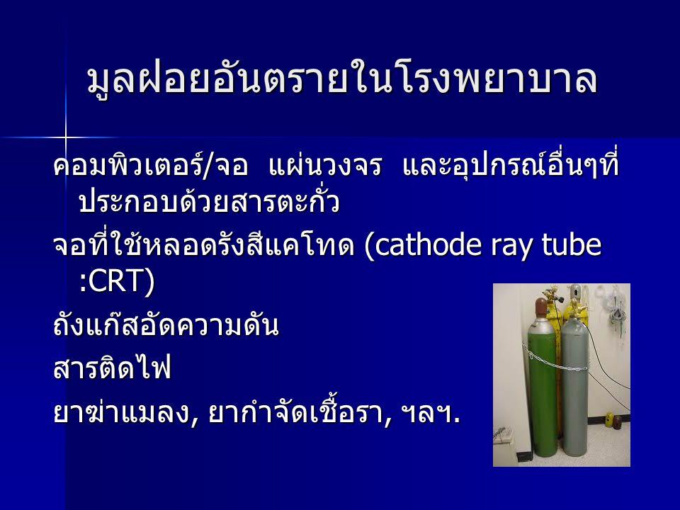 มูลฝอยอันตรายในโรงพยาบาล คอมพิวเตอร์/จอ แผ่นวงจร และอุปกรณ์อื่นๆที่ ประกอบด้วยสารตะกั่ว จอที่ใช้หลอดรังสีแคโทด (cathode ray tube :CRT) ถังแก๊สอัดความด