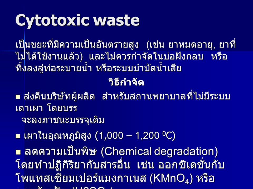 Cytotoxic waste เป็นขยะที่มีความเป็นอันตรายสูง (เช่น ยาหมดอายุ, ยาที่ ไม่ได้ใช้งานแล้ว) และไม่ควรกำจัดในบ่อฝังกลบ หรือ ทิ้งลงสู่ท่อระบายน้ำ หรือระบบบำ