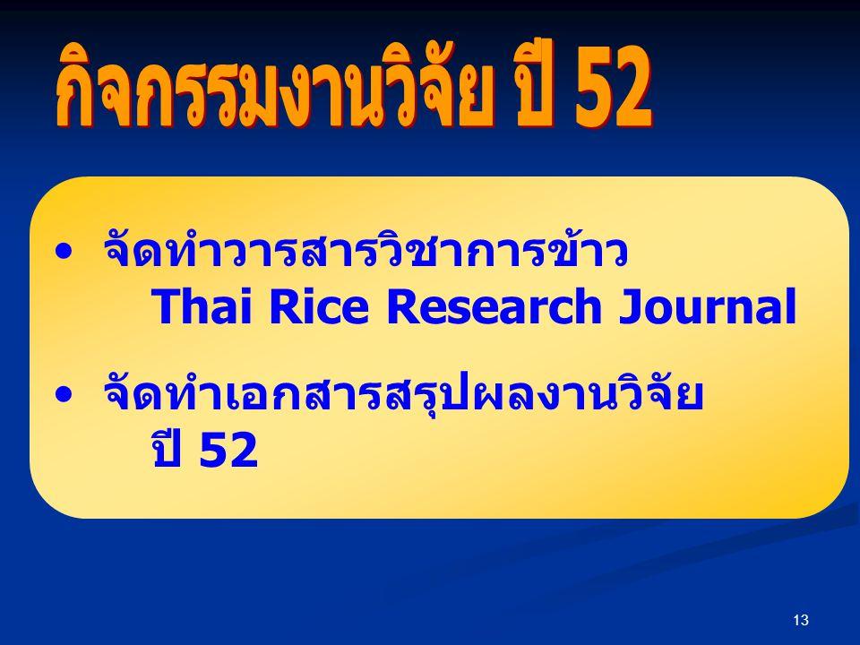 13 จัดทำวารสารวิชาการข้าว Thai Rice Research Journal จัดทำเอกสารสรุปผลงานวิจัย ปี 52