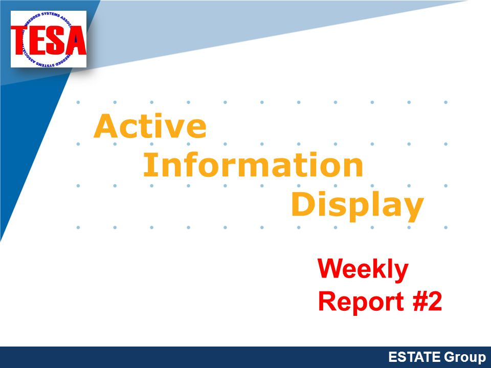 Company LOGO www.company.com Active Information Display Weekly Report #2 ESTATE Group