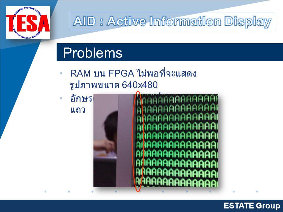 Company LOGO www.company.com Problems ESTATE Group RAM บน FPGA ไม่พอที่จะแสดง รูปภาพขนาด 640x480 อักษรตัวแรกของแถว เยื้องลงมาจาก แถว