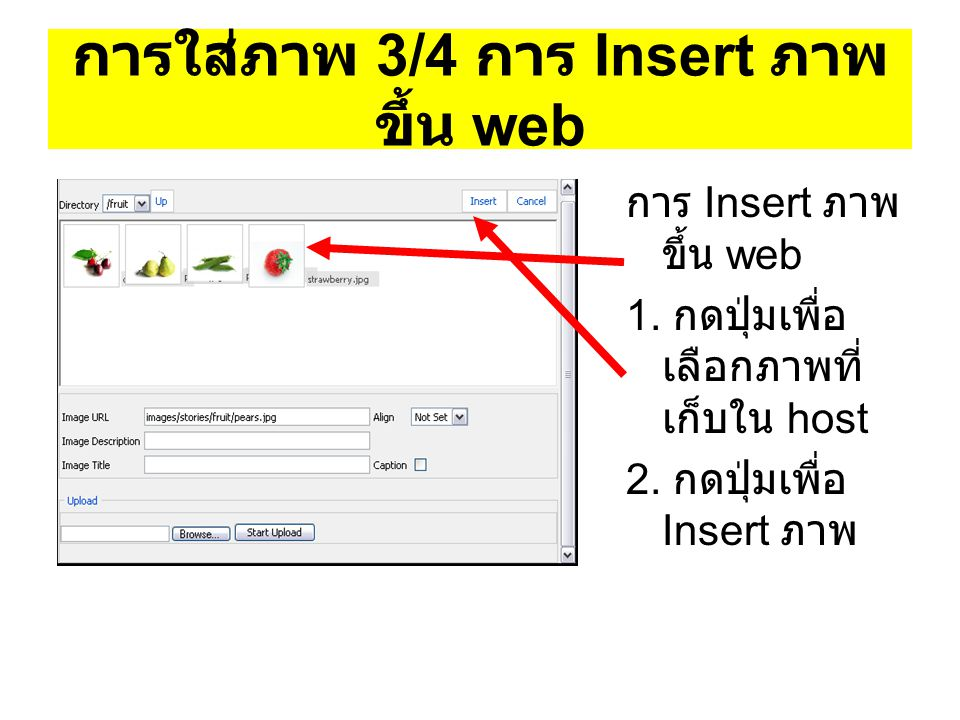 การใส่ภาพ 3/4 การ Insert ภาพ ขึ้น web การ Insert ภาพ ขึ้น web 1. กดปุ่มเพื่อ เลือกภาพที่ เก็บใน host 2. กดปุ่มเพื่อ Insert ภาพ
