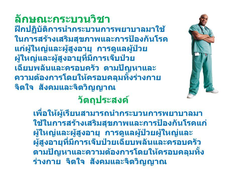 ฝึกปฏิบัติการนำกระบวนการพยาบาลมาใช้ ในการสร้างเสริมสุขภาพและการป้องกันโรค แก่ผู้ใหญ่และผู้สูงอายุ การดูแลผู้ป่วย ผู้ใหญ่และผู้สูงอายุที่มีการเจ็บป่วย เฉียบพลันและครอบครัว ตามปัญหาและ ความต้องการโดยให้ครอบคลุมทั้งร่างกาย จิตใจ สังคมและจิตวิญญาณ ลักษณะกระบวนวิชา เพื่อให้ผู้เรียนสามารถนำกระบวนการพยาบาลมา ใช้ในการสร้างเสริมสุขภาพและการป้องกันโรคแก่ ผู้ใหญ่และผู้สูงอายุ การดูแลผู้ป่วยผู้ใหญ่และ ผู้สูงอายุที่มีการเจ็บป่วยเฉียบพลันและครอบครัว ตามปัญหาและความต้องการโดยให้ครอบคลุมทั้ง ร่างกาย จิตใจ สังคมและจิตวิญญาณ วัตถุประสงค์