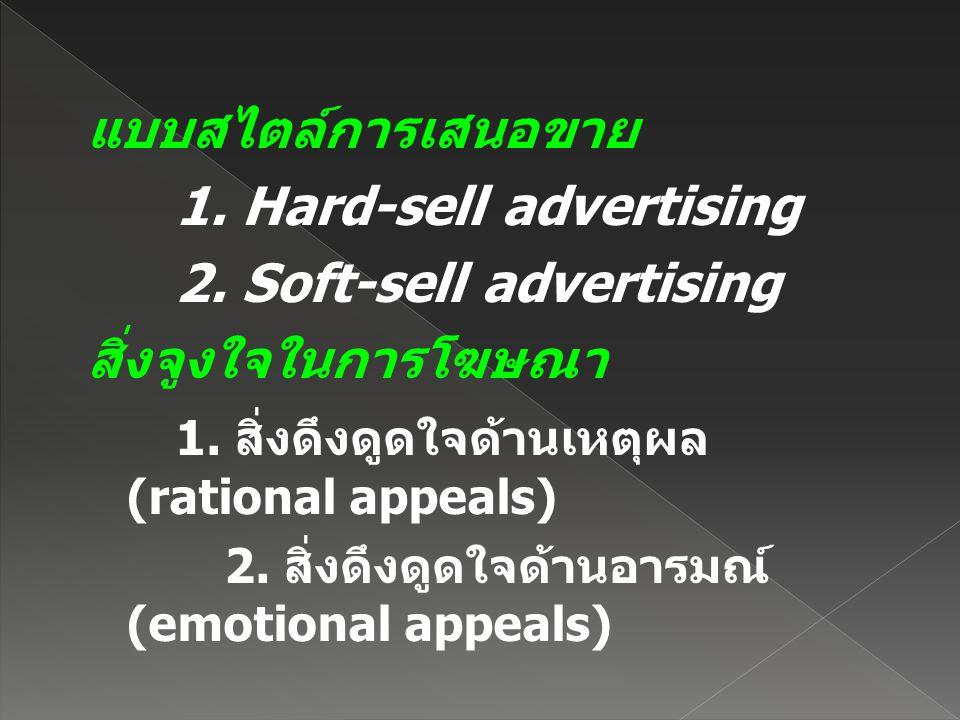 แบบสไตล์การเสนอขาย 1. Hard-sell advertising 2. Soft-sell advertising สิ่งจูงใจในการโฆษณา 1. สิ่งดึงดูดใจด้านเหตุผล (rational appeals) 2. สิ่งดึงดูดใจด