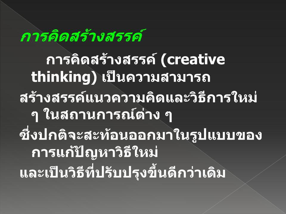 การคิดสร้างสรรค์ การคิดสร้างสรรค์ (creative thinking) เป็นความสามารถ สร้างสรรค์แนวความคิดและวิธีการใหม่ ๆ ในสถานการณ์ต่าง ๆ ซึ่งปกติจะสะท้อนออกมาในรูป