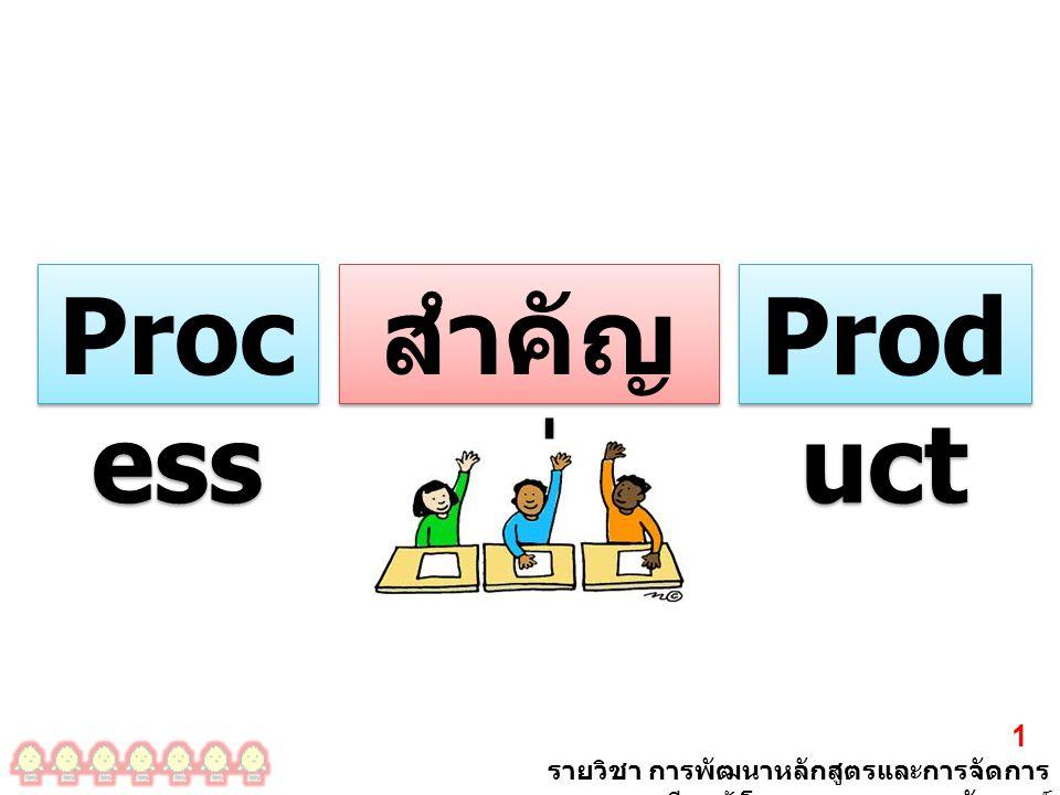 รายวิชา การพัฒนาหลักสูตรและการจัดการ เรียนรู้ โดย ผศ. ดร. เรขา อรัญวงศ์ 1 Proc ess สำคัญ กว่า Prod uct